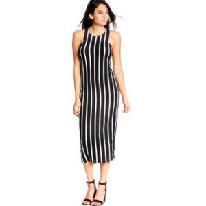 VIBE Sportswear Blue Striped Midi Bodycon Dress